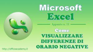 #Excel - Come visualizzare differenze di orario negative 8