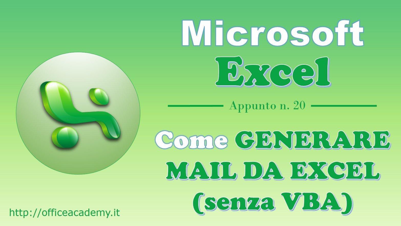 Come generare mail da Excel