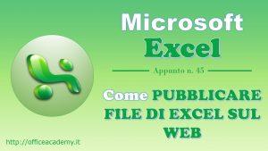 Come pubblicare file di excel sul web