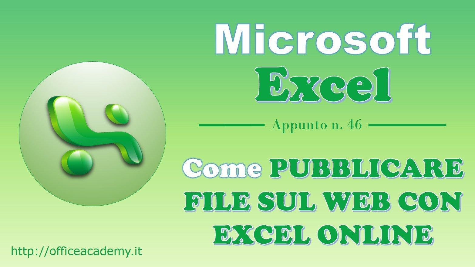 Come pubblicare file sul web con Excel Online