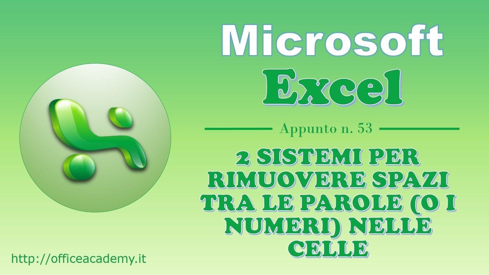 2 sistemi per rimuovere spazi tra le parole (o i numeri) nelle celle di Excel