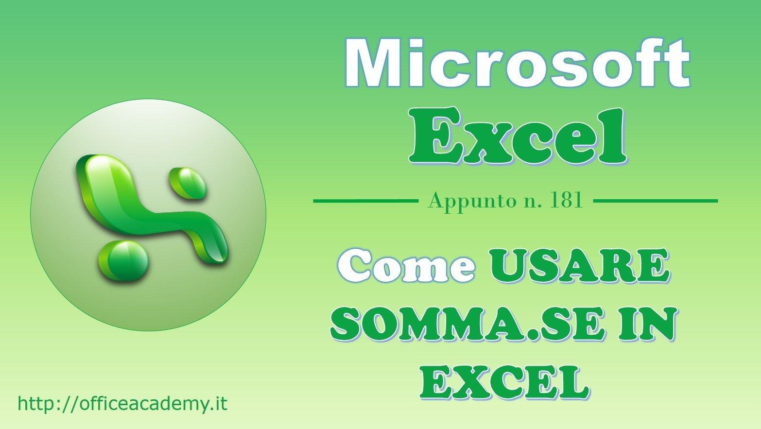 Come usare SOMMA.SE in Excel